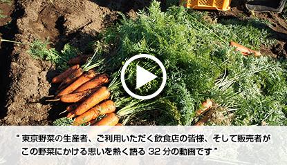 東京野菜の生産者、ご利用いただく飲食店の皆様、そして販売者がこの野菜にかける思いを熱く語る32分の動画です